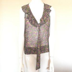 Anthropologie Fei Sleeveless Silk Floral Top